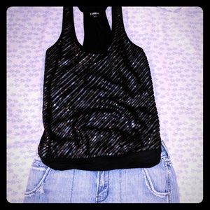 Express Sequin Front Racer Back Tank Top